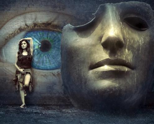apparire, maschera, donna